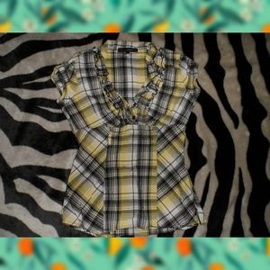 Yellow & Black Checkered Plaid Dress Top